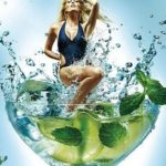 Slimming drink with mint.