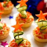 Tartlets with red caviar Fir-trees.